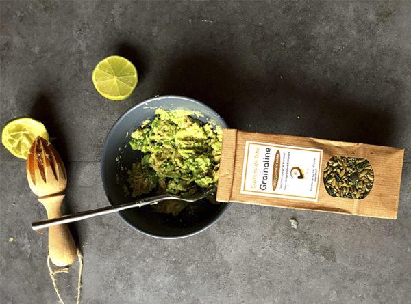 Photo d'une recette de grainaline salée utilisée dans le guacamole
