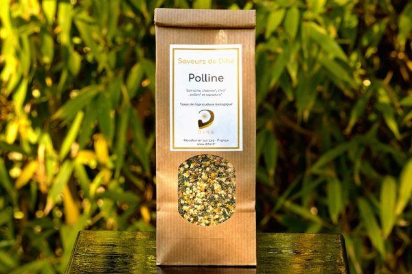 sachet de polline sur fond naturel