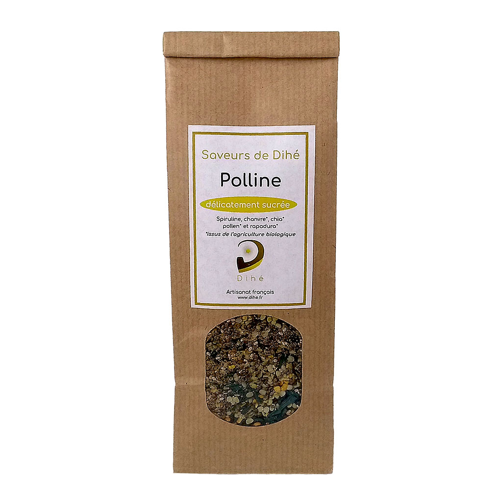 Condiment sucré au pollen, chanvre, chia, rapadura et spiruline