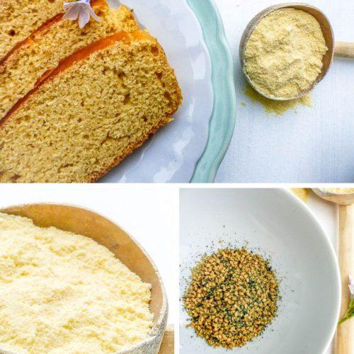 assemblage de photos présentant les ingrédients du pain de maïs végétalien