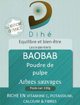 Etiquette du sachet de poudre de pulpe de baobab