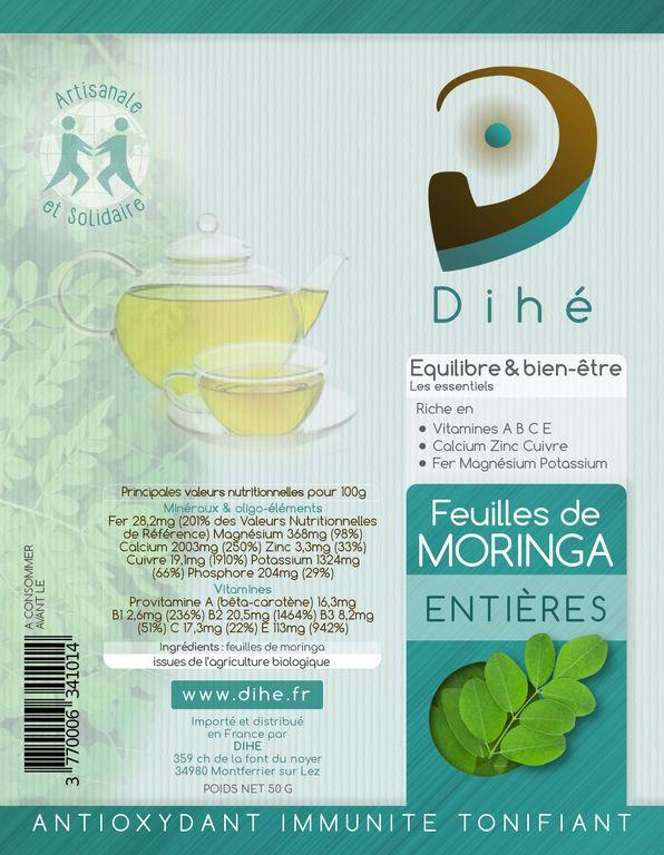 étiquette du sachet de feuilles de moringa bio pour infusions