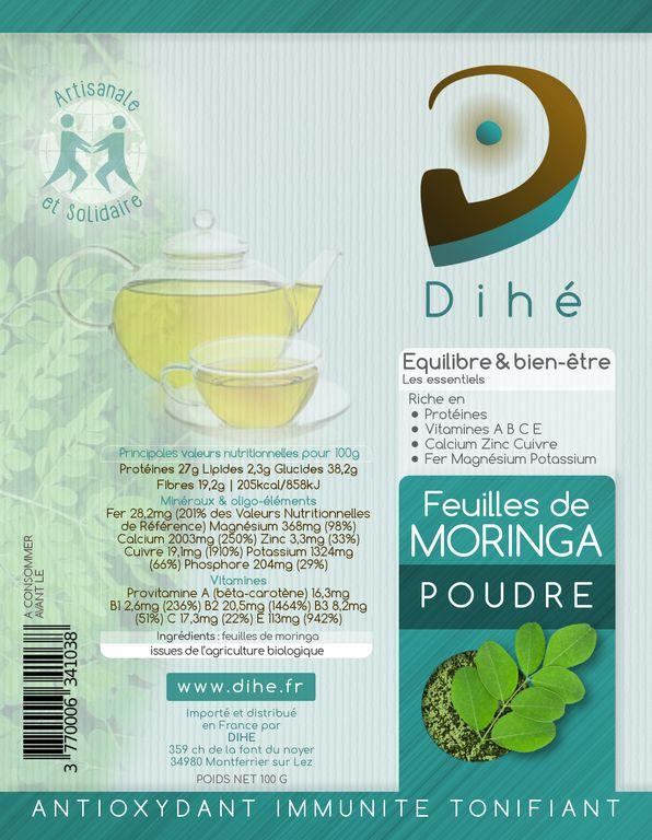 Etiquette de la poudre de feuilles de Moringa bio Dihé