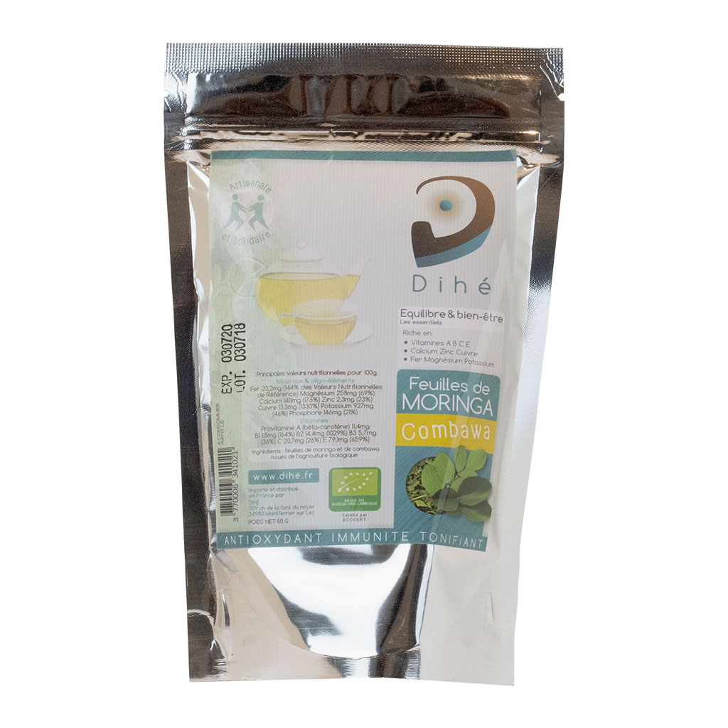 Tisane de feuilles de moringa et de combawa bio