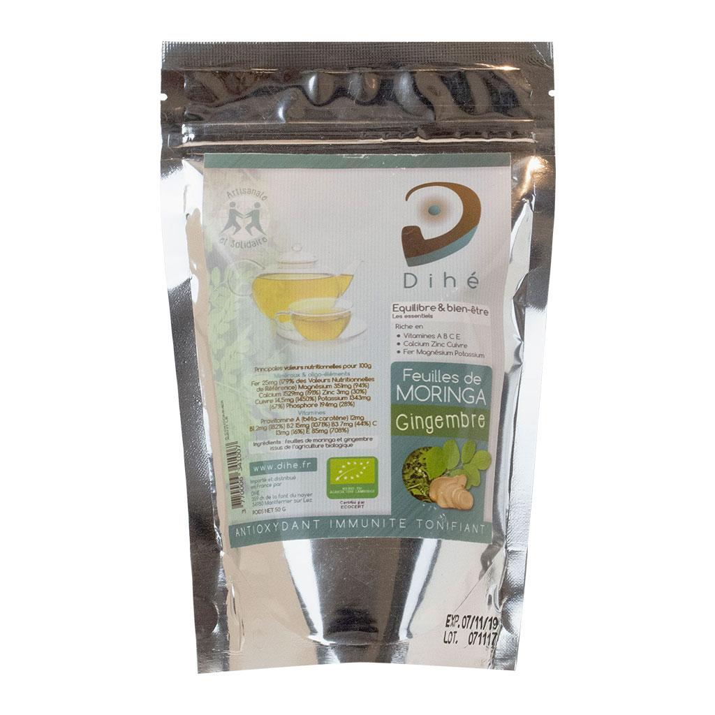 Tisane de feuilles de moringa et de gingembre bio