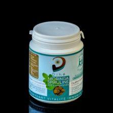 Photo d'un pot de comprimés moringa et spiruline bio Dihé