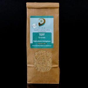 Photo d'un sachet de graines de teff artisanales et bio de marque Dihé