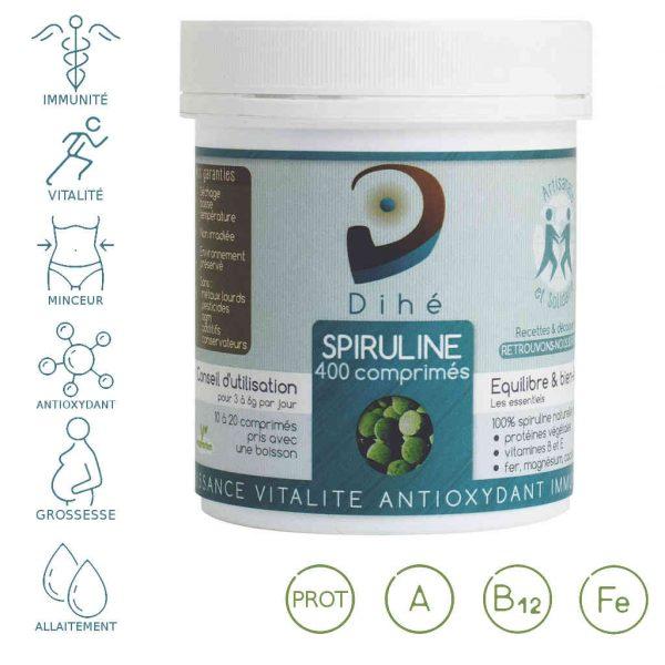 Acheter la spiruline bio Dihé en comprimés sans additifs