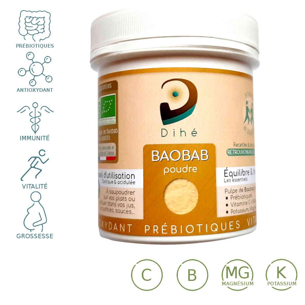 Baobab bio Dihe - Pot de poudre de pulpe de fruit du baobab originaire du sénégal